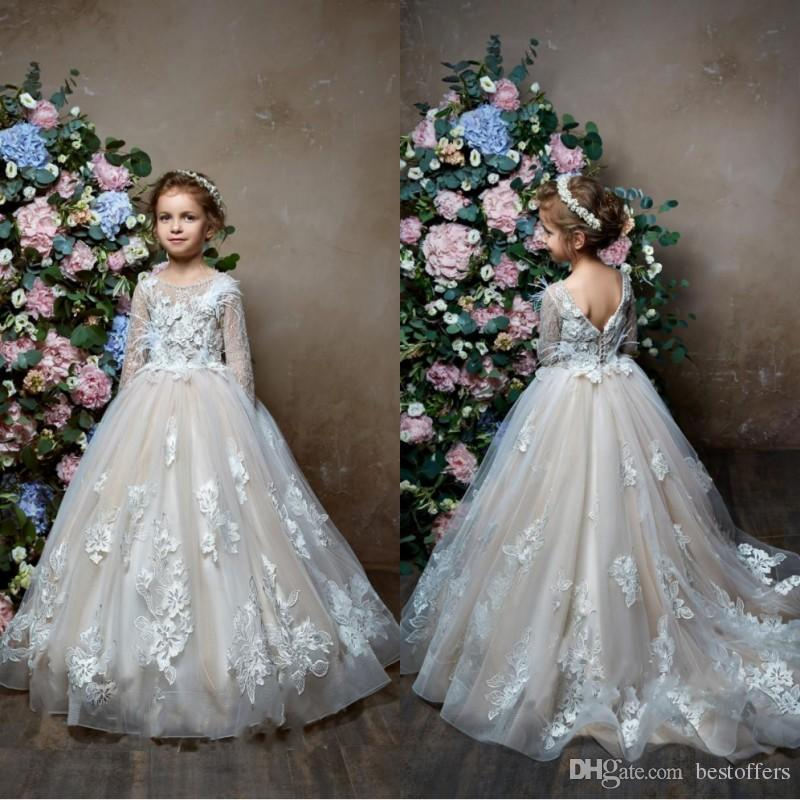 Lovely 2019 Long Sleeves Flower Girl Dresses For Weddings Feather ...