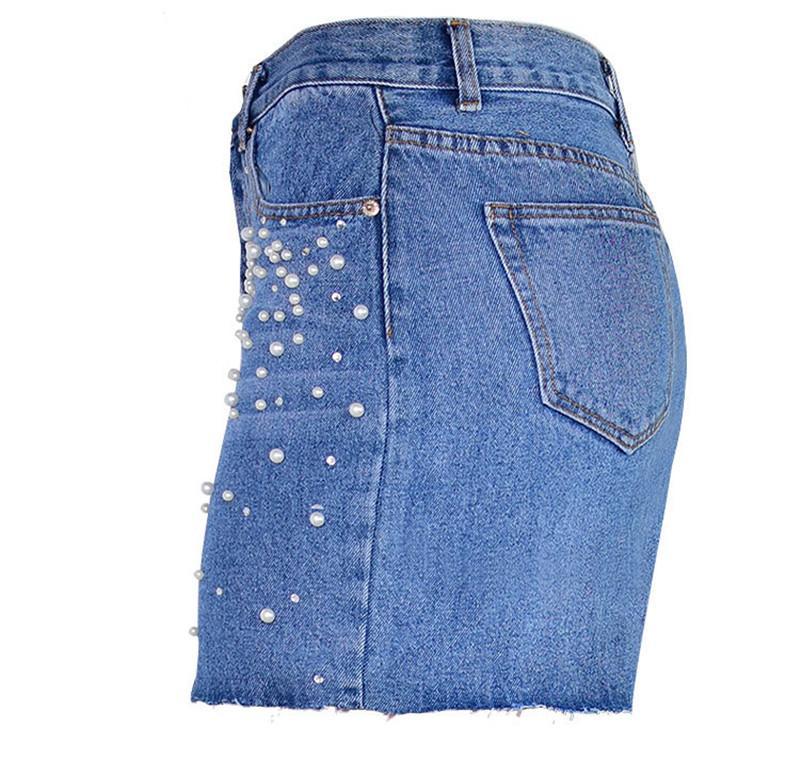 Venta al por mayor envío gratuito mujeres faldas lápiz pantalones cortos de cintura alta Pearl Diamon Ripped Denim Jeans corte falda