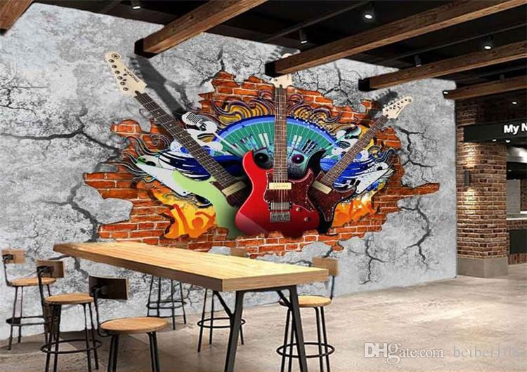 Photo Wallpaper Personalized Customization 3D Stereo Guitar Rock Brick Wall KTV Bar Restaurant Modern Vintage Mural Wall Papers