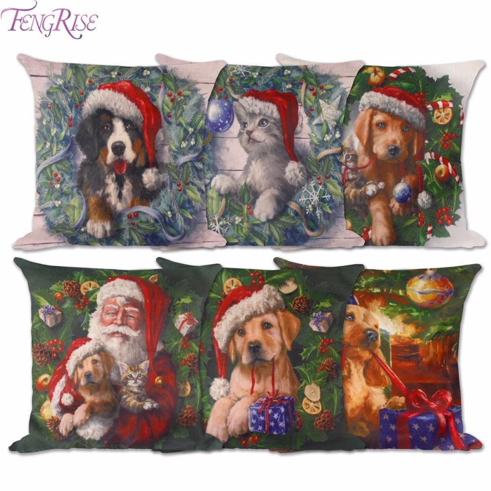 Großhandel Fengrise Weihnachtskissenbezug Weihnachten Hunde Katzen ...