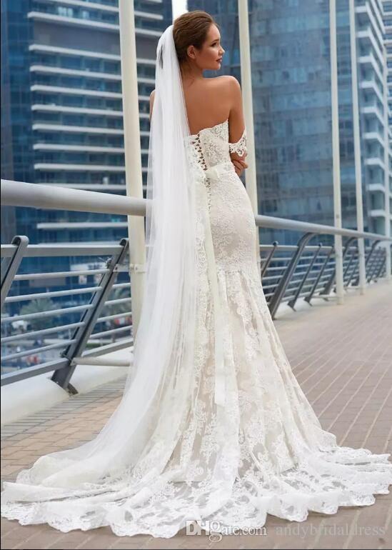 2019 Splendida sirena pizzo abiti da sposa elegante pieno pizzo appliques corsetto indietro economici lunghi abiti da sposa treno abiti da sposa