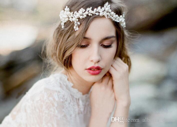 2020 Fashion Silver Pearl Bridal Hair Vine Jewelry Handmade Wedding Headband Accessories Crystal Women cheap Headpiece
