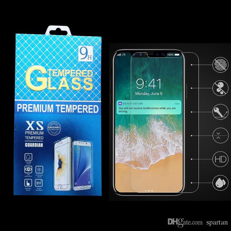 Para LG K20 PLUS iPhone X 8 7 6s plus 5s Clear Tempered Glass 9H Protector de pantalla película anti-rayado con caja de plástico de embalaje
