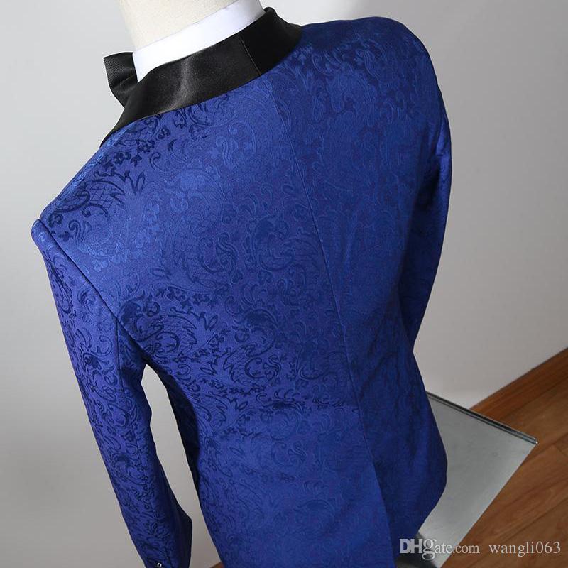 Three Piece Royal Blue Pinstripe Men Suits for Wedding Groomsmen Wear Black Shawl Lapel Classic Style Groom Tuxedos Jacket Pants Vest