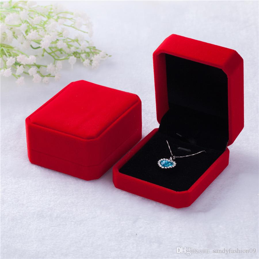 Caixa de Pingente de flanela Octagonal Premium Veludo High-end Colar Caixa Caixa de Organizador De Armazenamento Exibição Pingente Vermelho Branco Presente tamanho 7 * 8 * 4 cm