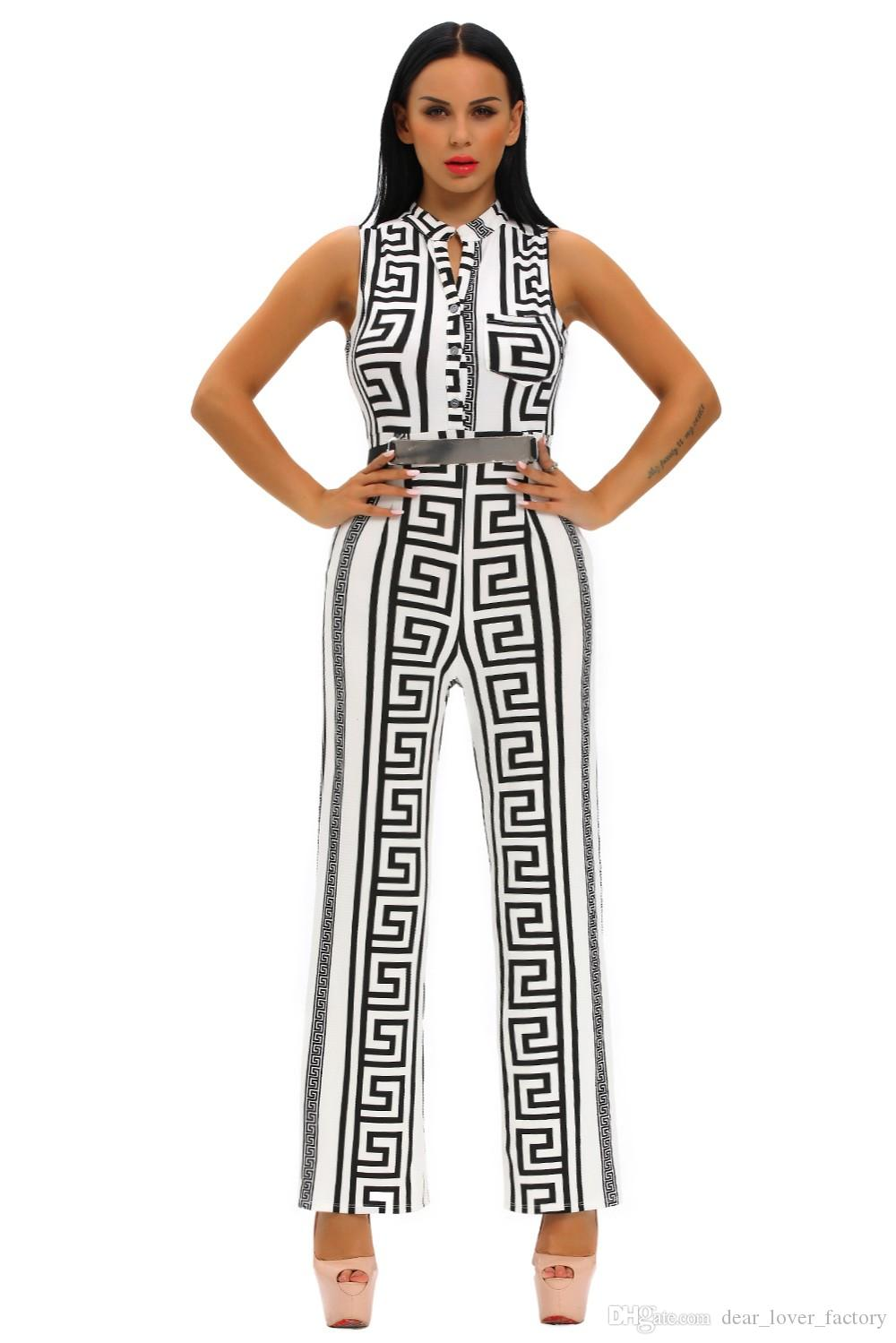 66671c02cd 2019 2018 Wide Leg Jumpsuit Overalls Long Trousers Outfits Fashion Women  Black Print Gold Belted Ladies Playsuits From Dear lover factory