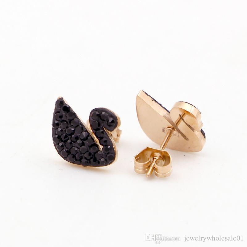 Nouvelles boucles d'oreilles noires coréennes Black Titan en acier au titane plaqué or rose 18K