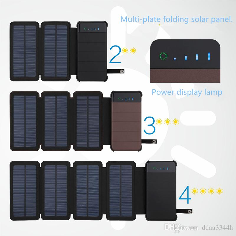 20000mah sunpower 8W folded solar energy holster Battery Charger Solar Power Bank Removable Solar Charger Case for Electronic products