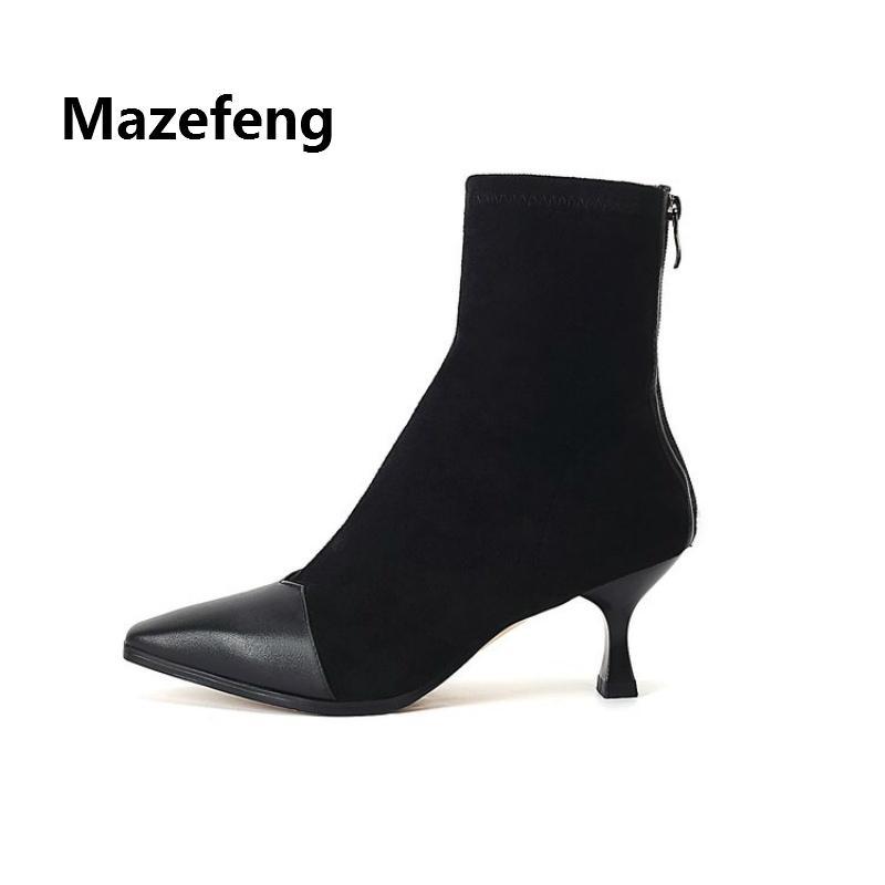 Mazefeng 2018 Weibliche Winterschuhe Frauen Casual Martin Stiefel Damen Stiefeletten Flock Frauen Spitz Strumpfwaren Komfortabel