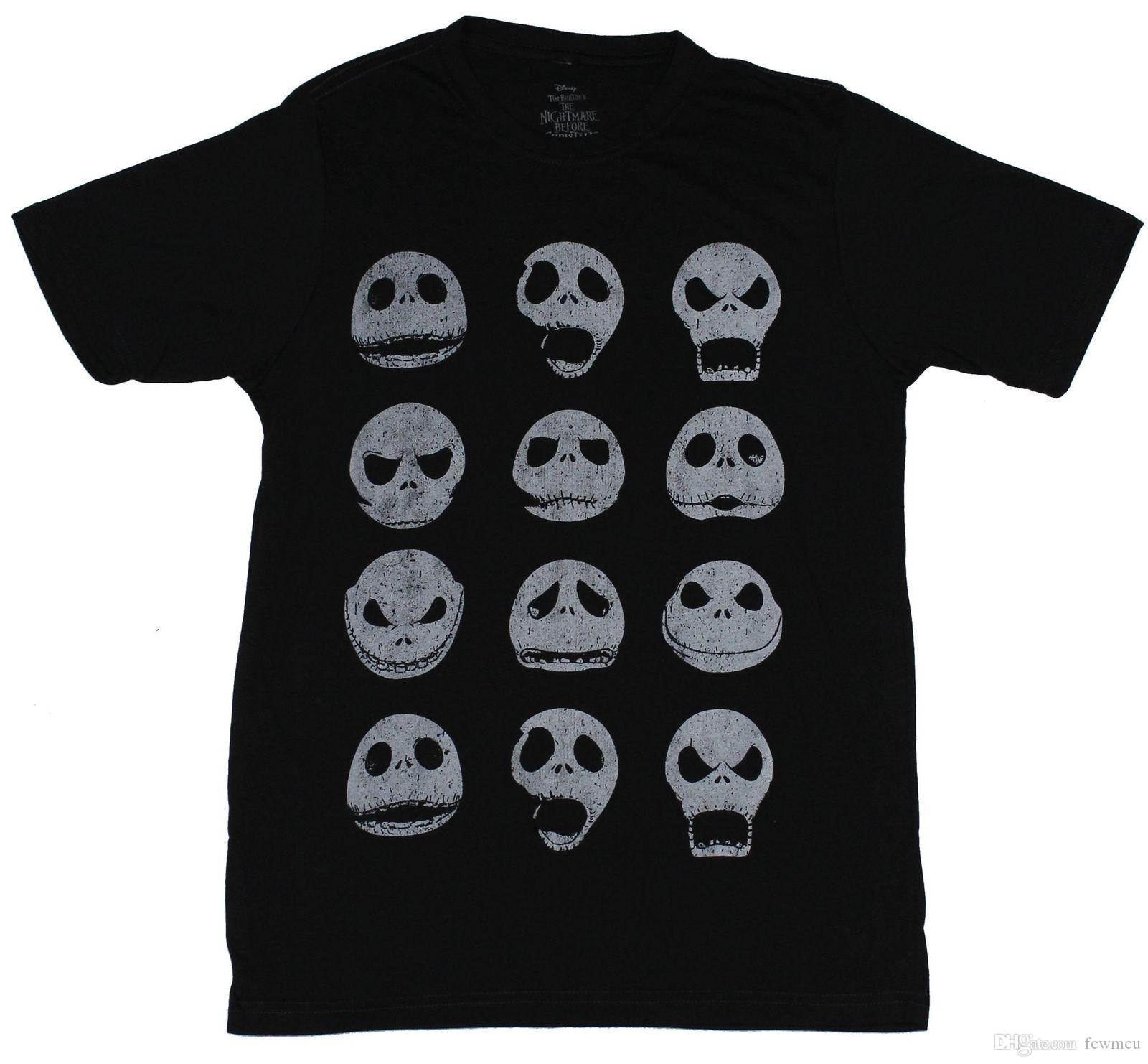 Nightmare Before Christmas Mens T Shirt The Many Faces Of Jack ...