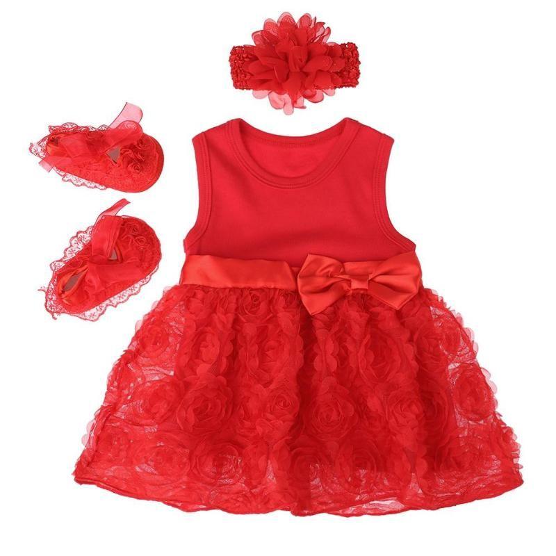 1c363b5dc 2019 Newborn Baby Girl Clothes Set Red Sleeveless Romper Dress Shoes ...