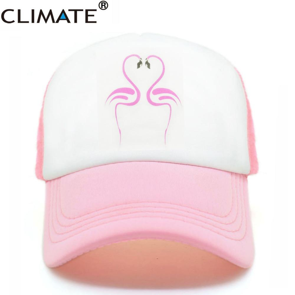 CLIMATE Women Pink Flamingo Mesh Summer Cool Caps Net 2017 Youth Young  Girls Pink Luck Flamingo Cool Net Mesh Hat Caps Summer Zephyr Hats Kids Hats  From ... ac40fd828595