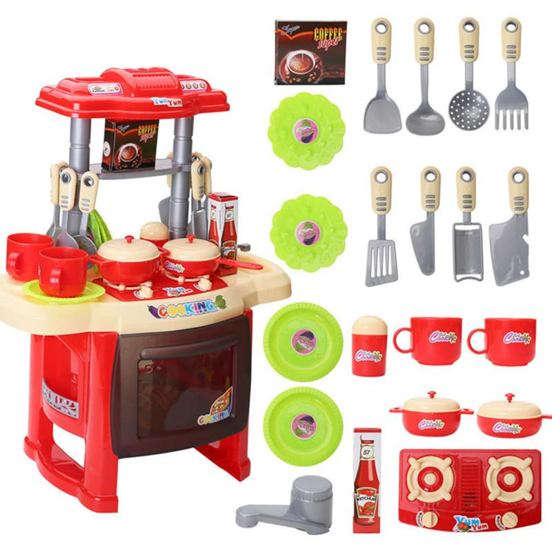 2016 New Kid s Kitchen Cooking Toys Play Set Pretend Play Simulation Toy  Kitchen Child Cooking Game Children Gift