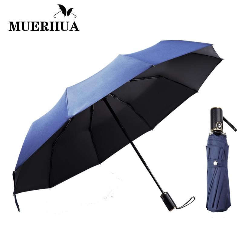 45a32a467a01 Classic English Style Leather Handle Umbrella Men Automatic 10K Strong  Windproof 3 Folding Umbrella Rain Business Male Parasol