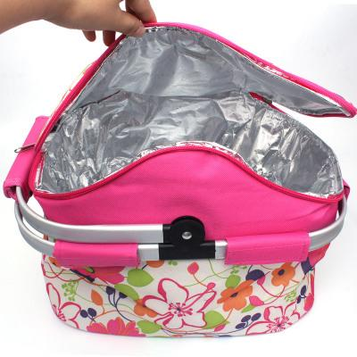 Portable Folding Picnic Basket Thicken Waterproof Mini Fridge Drink Food Cooler Warmer Box Fruit Fresh-keeping Insulation Bags Ice Pack