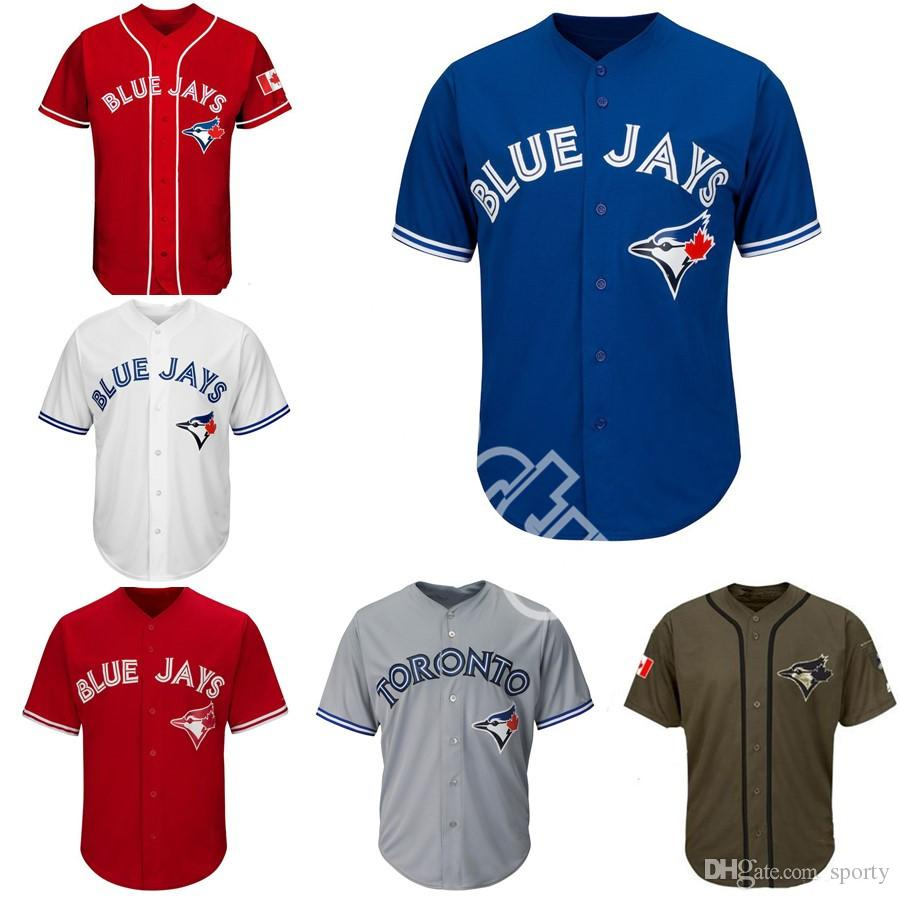 12bbaf69f 2019 Men Women Youth Blue Jays Jerseys Blank Jersey Baseball Jersey No Name  No Number White Gray Grey Blue Red Canada Day Green Salute To Service From  ...