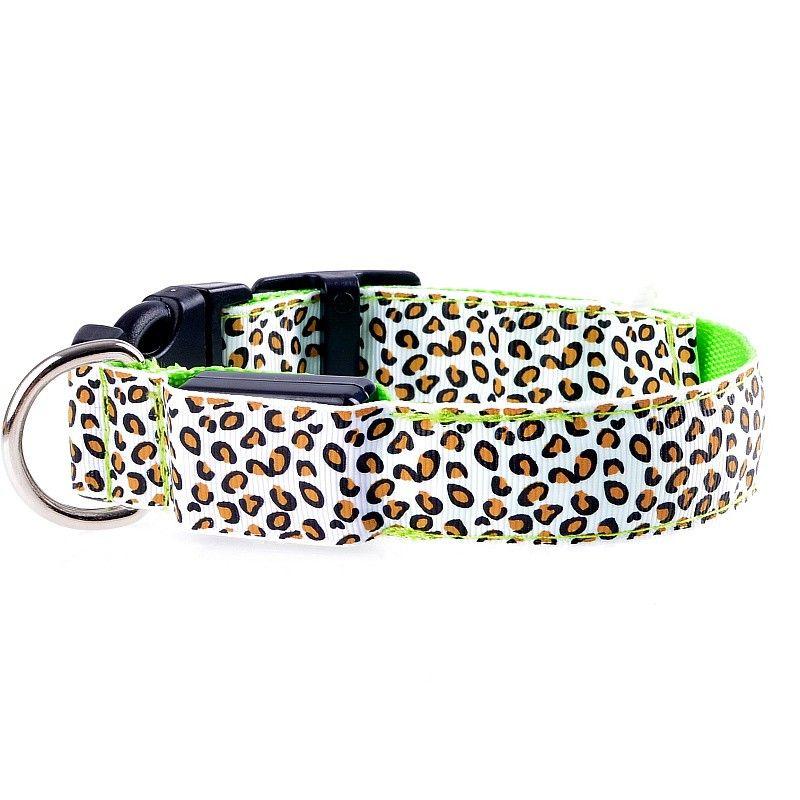 Светодиодные Ошейник безопасности Leopard дизайн нейлон Night Light ожерелье для собак Cat Светящиеся в темноте мигающий Pet Decor Флуоресцентные Luminous