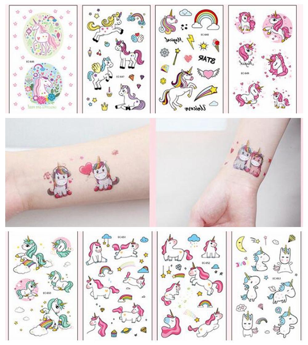 Acquista 1 Pz Del Tatuaggio Unicorno Del Fumetto Il Capretto Carino Taty  Tatouage Temporaire Body Art Impermeabile Autoadesivo Del Tatuaggio  Temporaneo