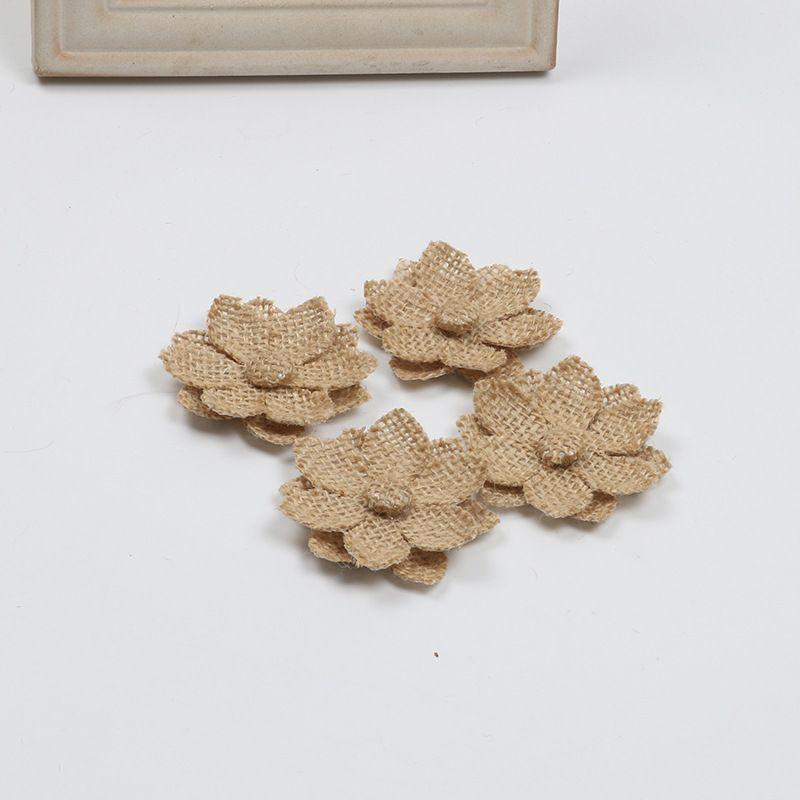 Toile de jute à la main fleurs en toile de jute rose avec perle pour bricolage artisanat et décorations de mariage