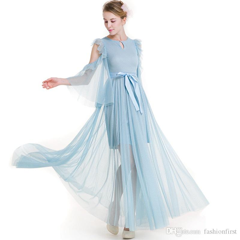 High Quality Skyblue Chiffon Dress 2018 Summer New Sexy Hollow Out Beach  Maxi Dresses Ruffles Flare Sleeve Elegant Holiday Dresses Pink Casual  Dresses For ... 4506ebf7e859