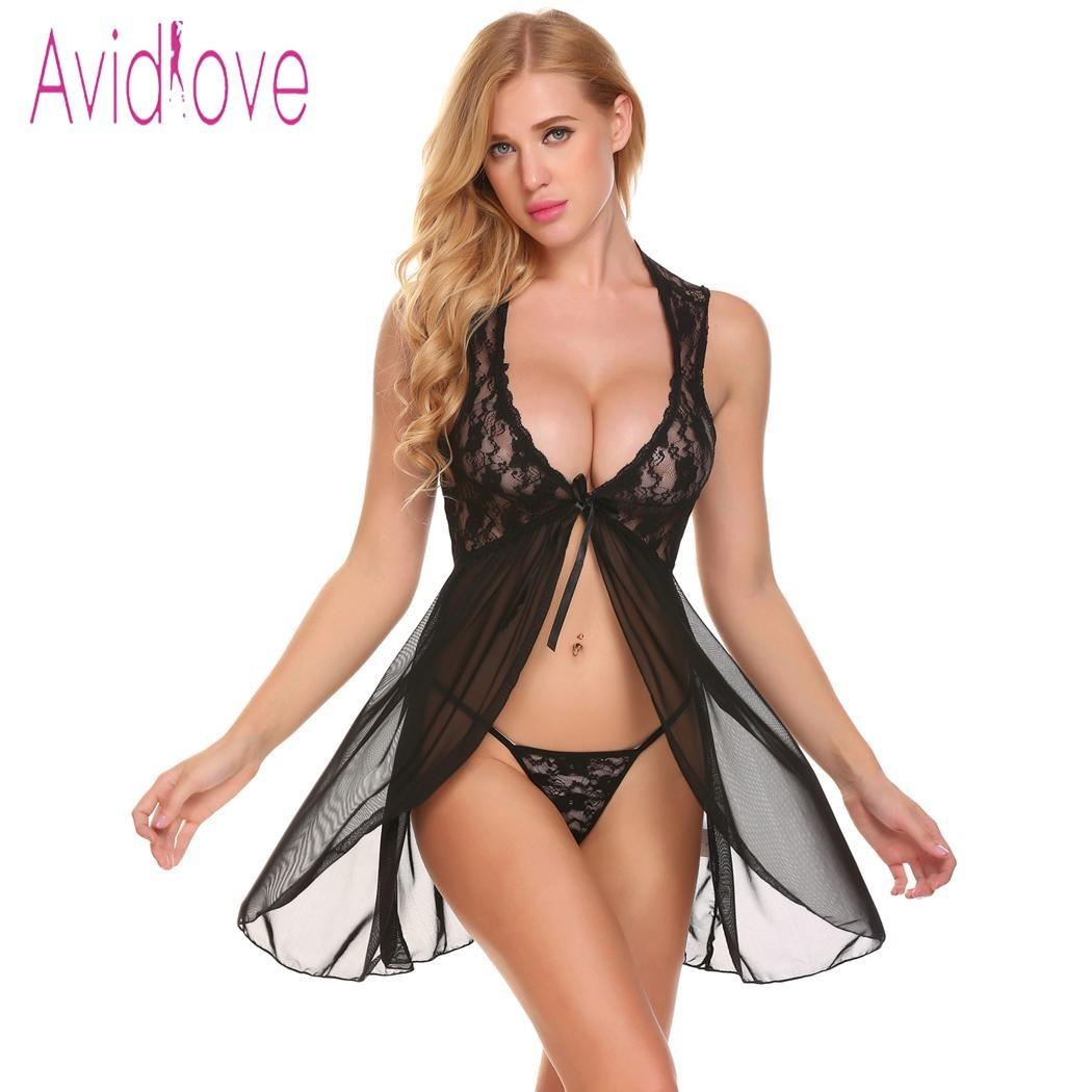 2b69c26aff Avidlove Lingerie Sexy Hot Erotic Nighty Baby Doll Nightdress Women Floral  Lace Oepn Front Nightwear With G String Exoti Clothes D18110701 Sexy Womens  ...