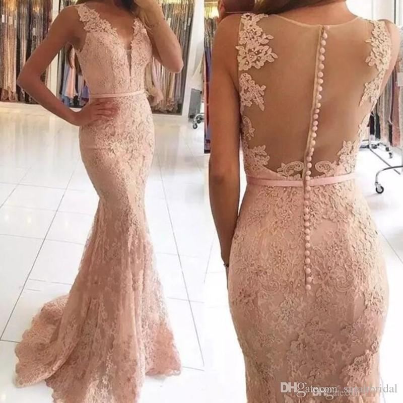 4275a757ca4f5 2018 Champagne blush Mermaid Prom Dresses modest V Neck with Beaded Lace  fishtail Evening Gowns Sexy Illusion Back Cheap Party Gowns