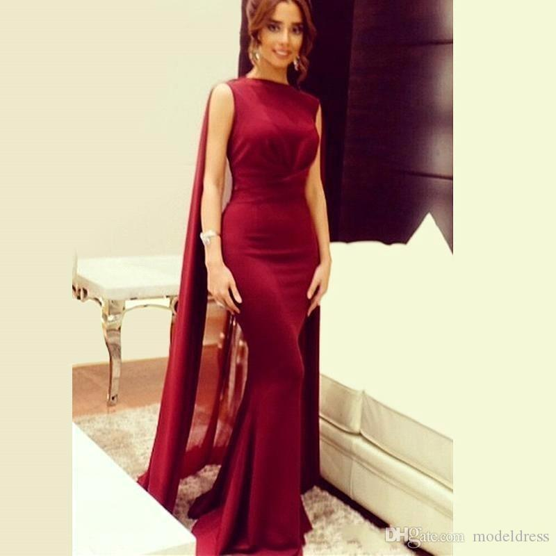 Arabic Dark Red Mermaid Evening Dresses With Shawl Bateau Sweep Train Chiffon Formal Prom Party Gowns Celebrity Dress Special Occasion Dress