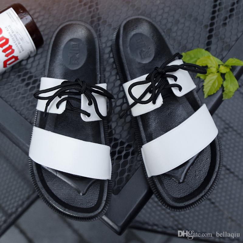Европа известный дизайнер мужские сандалии обувь кожаные сандалии на плоской подошве нескользкие летние женские белые черные шнурованные шлепанцы тапочки