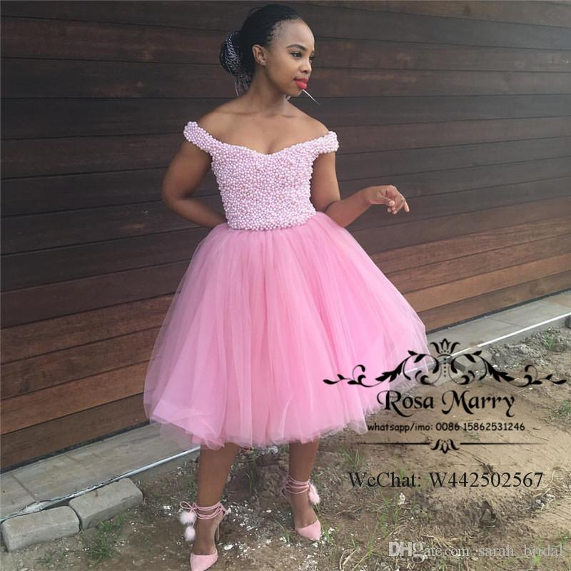 Luxury Pink Black Girls Short Prom Dresses 2018 Ball Gown Pearls ...