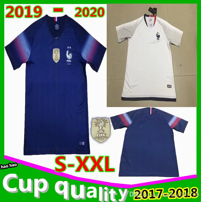 8f2be3ee2d1 2 Stars 2019 Mbappe Soccer Jerseys French Home Away 19 20 POGBA ...