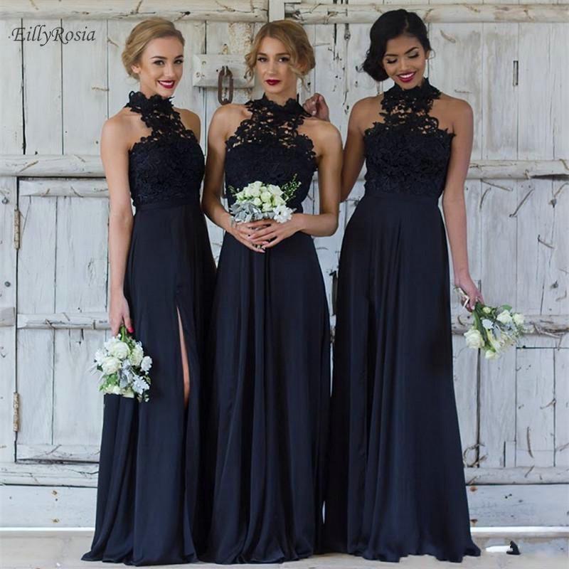 Compre Vestidos De Dama De Honor Azul Oscuro De Gasa De Encaje Formal Largo Vestido  Elegante Para El Banquete De Boda Para Mujer Robe Demoiselle D honneur A ... a388f822cb09