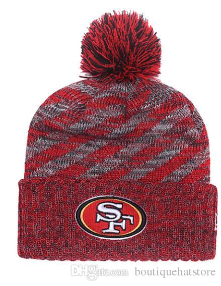 5f29b824fed32 2019 2019 New Baseball Brand Women S Winter Warm Beanies With Pom Fashion  Street Out Door Wool SF 49ERS Cuffed Knit Hat Men S Skull Knitted Caps From  ...