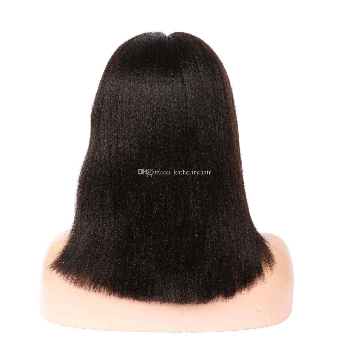 human hair bob wig sort cut front lace coarse yaki brazilian malaysian hair kinky straight glueless full lace wigs for black women