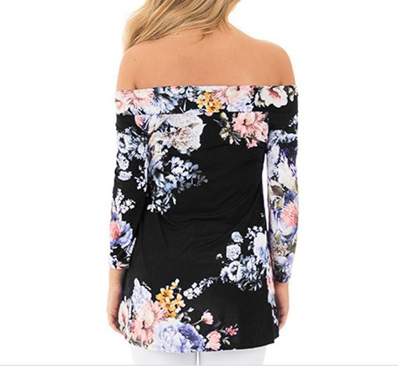 Vestiti delle donne di sette - manicotto Il formato camicetta Tops Desinger sexy ragazza di fiore allentato spalle stampa floreale T-shirt estate delle signore di usura con un