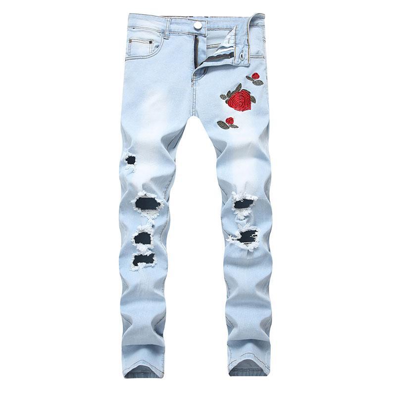a5e8478592 Nuovi jeans strappati da uomo con ricami Fiori Pantaloni da uomo in denim  elasticizzato blu scuro con buco nero