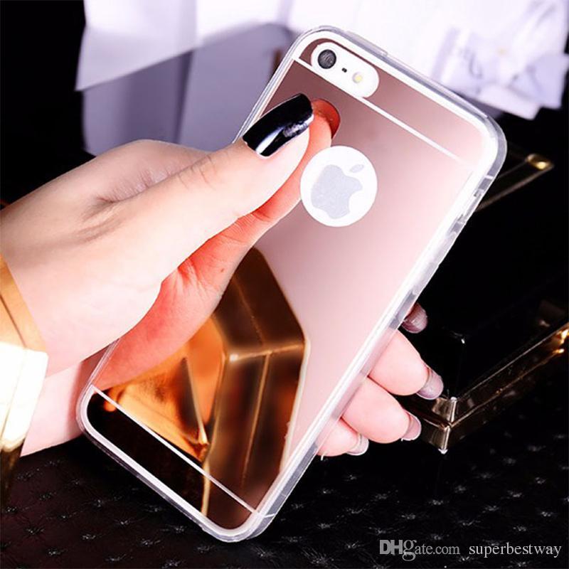 Preço barato TPU caso espelho Para iphone7 iphone7 Caso Espelho Galvanoplastia Chrome Ultrafinos Macio TPU Telefone Caso Tampa Traseira SCA393