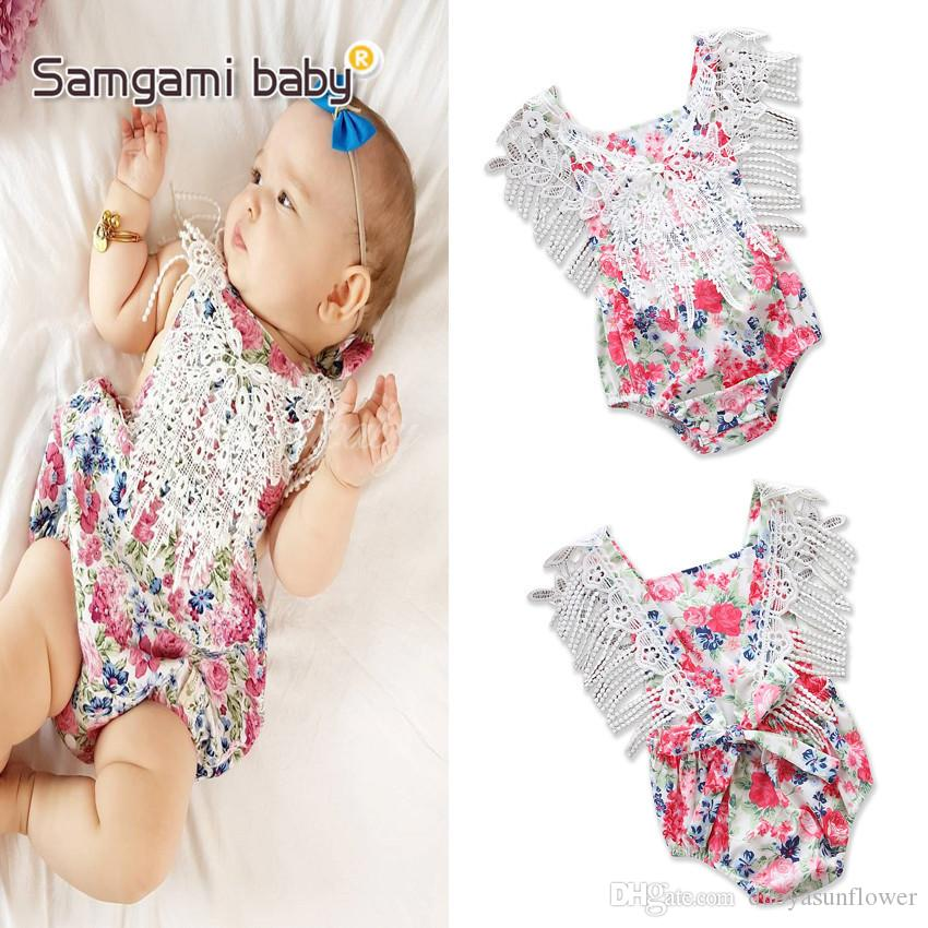 2018 Top Selling High Quanlity Baby Girls Flower Printed Fringing Rompers Kids Toddlers Lovely Jumpsuits First Walker Kids Clothing
