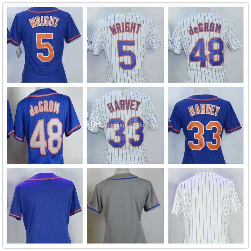 2018 Women NY Mets Jerseys 5 Wright 48 DeGrom 33 Harvey Blank White Strips  Grey Blue Lady s Cool Base Baseball Jerseys Embroidery 5 Wright 48 DeGrom  33 ... 1b3e6b7d6