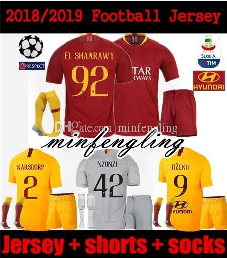 b9be38f10c6 2019 Adult Kit 2018/2019 ROMA SOCCER JERSEY HOME AWAY DZEKO PASTORE NZONZO  EL SHAARAWY 18/19 CHAMPIONS LEAGUE Third Yellow Men FOOTBALL SHHIRTS From  ...