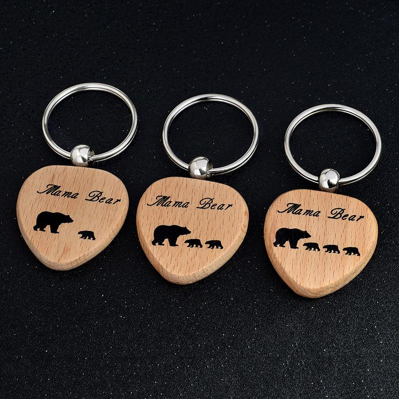 New Fashion Keychain Keyring DIY wood Heart Keychain Bear Pendant Jewelry for Your Mom /children