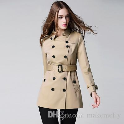 New Solid Color Waterproof Double-breasted Trench B9
