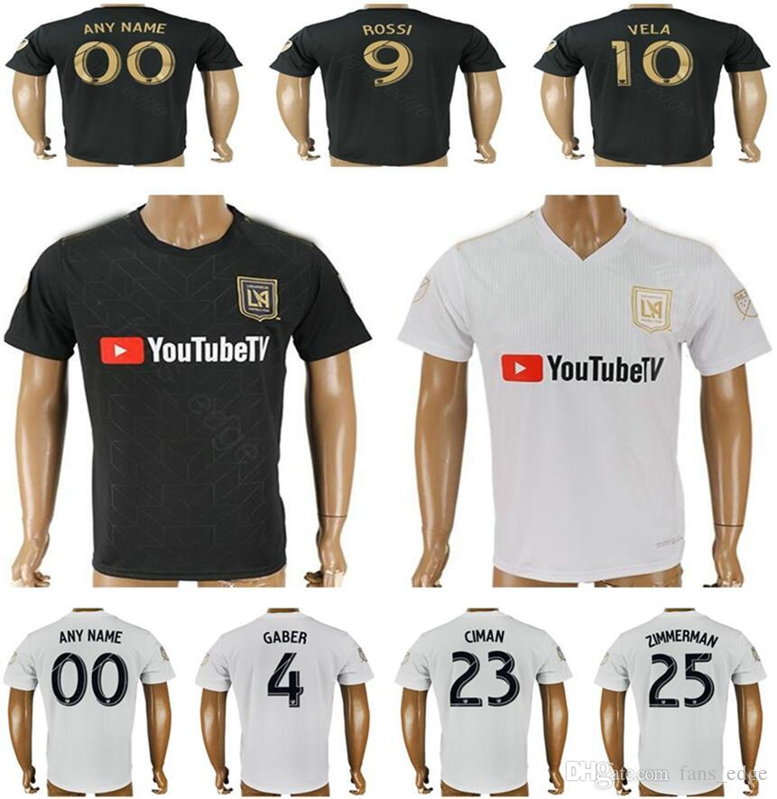 83d4574ab 2018 2018 New Los Angeles Fc Football Jerseys Gaber Rossi Vela Ciman  Zimmerman Blank Custom Black White Adult Soccer Shirt Uniform Thai Quality  From ...