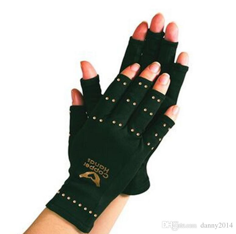 2019 Arthritis Gloves Copper Hands Men Women Black Copper Gloves Fitness Glove Therapeutic Compression Gloves Yoga Sports Mittens Polybag Package From