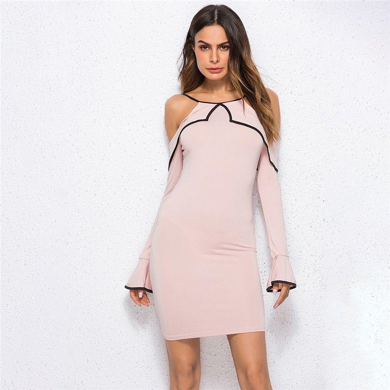 Women Solid Dress Elegant Fashion Cold Shoulder Long Sleeve Ruffles