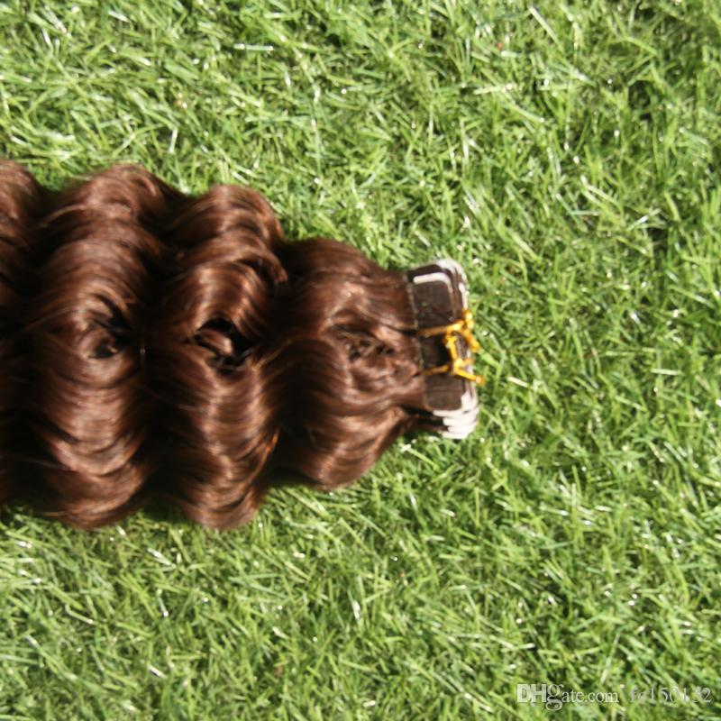Menschliches Klebeband im Haar Extensi 100g 2.5g / pc Doppelseitige natürliche menschliche PU-Haar-Erweiterungen seidiges gelocktes Haar 33 dunkles Kastanienbraun Brown