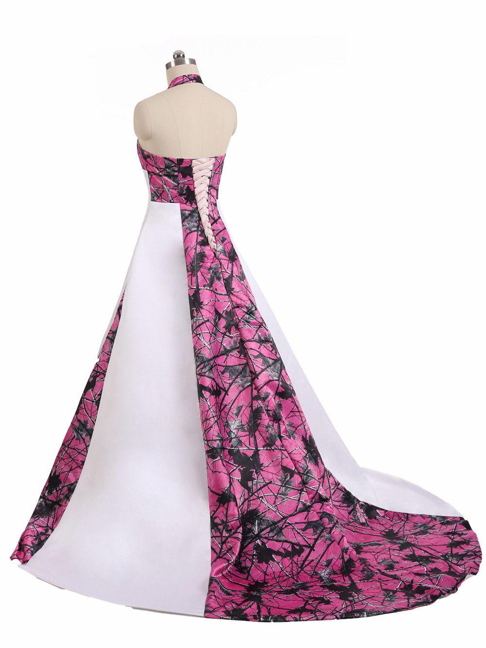 A-line Camo Wedding Dresses Gowns Lace-up Back Plus Size Halter Corset  Country Camo Bridal Dresses Gowns Plus Size