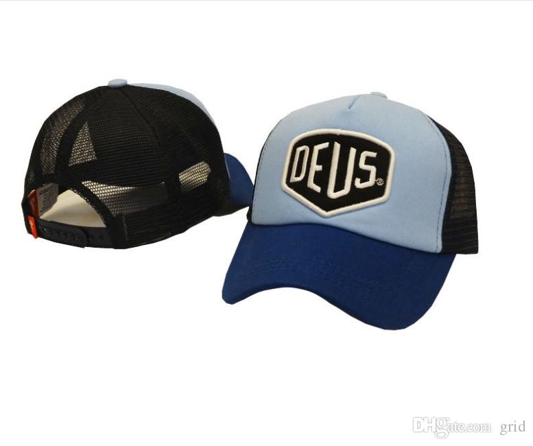 300 adet WholesaleHigh Kalite Erkekler Kadınlar Için Deus Ex Machina Baylands Trucker Snapback Bboy Kızlar Örgü Spor Şapka Hiphop Açık Beyzbol Kap
