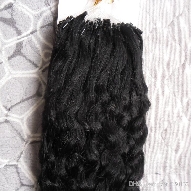 Micro Loop Nano Ring Haarverlängerungen 1g / s 100g 100s verworrenes lockiges Menschenhaar Fusion Remy Naturhaar Schwarz Braun Blond