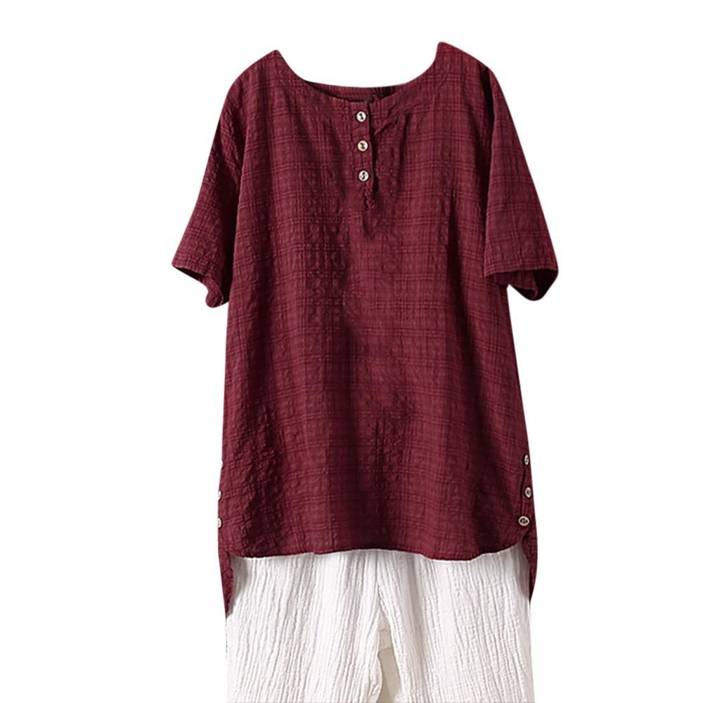1a392bc32e Compre Camiseta De Mujer Camiseta De Manga Corta De Lino Con Cuello Redondo  Camiseta De Vestir De Calle 2018 Ropa De Calle Camiseta De Mujer De Moda A  ...