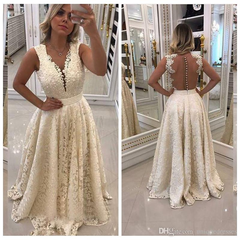 Grace Dantel Elbiseler Akşam Aşınma 2018 Seksi V Yaka Sheer Geri Bir Gelinlik Balo Elbise Örgün Uzun Parti Abiye